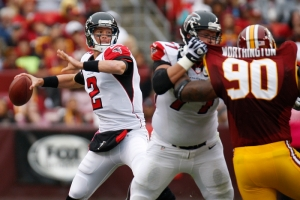 Ryan passes against the Washington Redskins during the first half of their NFL football game in Landover, Maryland