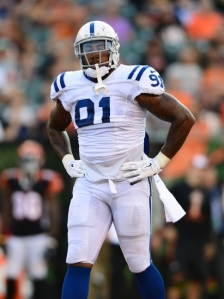 Aug 28, 2014; Cincinnati, OH, USA; IIndianapolis Colts defensive end Jonathan Newsome (91) against the Cincinnati Bengals at Paul Brown Stadium. Mandatory Credit: Andrew Weber-USA TODAY Sports