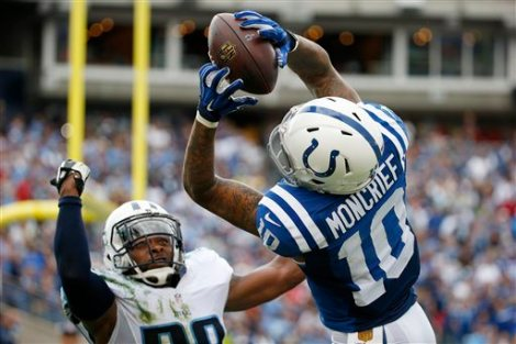 Indianapolis Colts wide receiver Donte Moncrief (10) catches an 11-yard pass for a touchdown as he is defended by Tennessee Titans defensive back Perrish Cox in the second half of an NFL football game Sunday, Sept. 27, 2015, in Nashville, Tenn. The Colts won 35-33. (AP Photo/Weston Kenney)